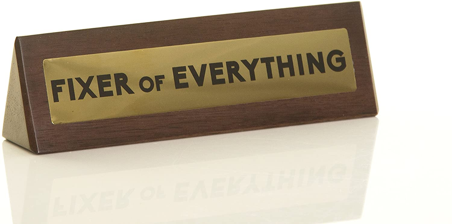 Boxer Gifts 'Fixer Of Everything' Novelty Wooden Desk Warning Sign | Office Humor Gift For Colleague Or Boss | 4.5cm x 17.5cm