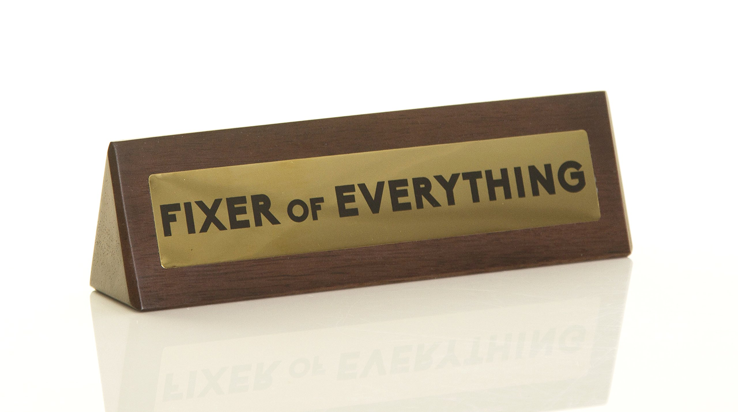 Boxer Gifts 'Fixer of Everything' Novelty Wooden Desk Warning Sign   Office Humour Gift for Colleague Boss Dad   4.5cm x 17.5cm Brown DK1041