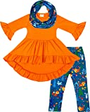 Toddler Little Girls Fall Colors Vintage Floral Outfit Set with Infinity Scarf