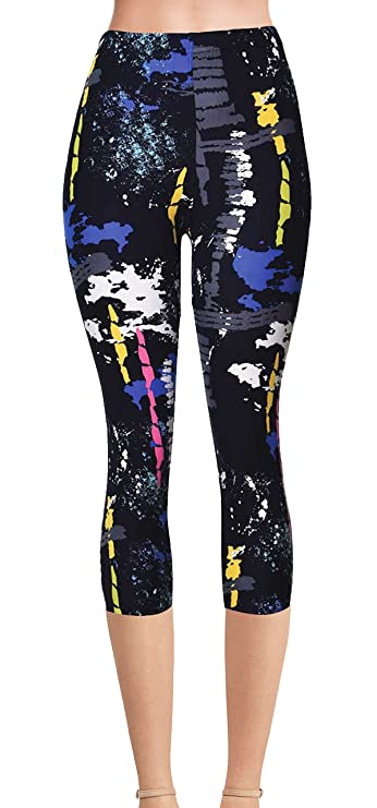 VIV Collection Regular Size Printed Brushed Capris (Artistic Splash)