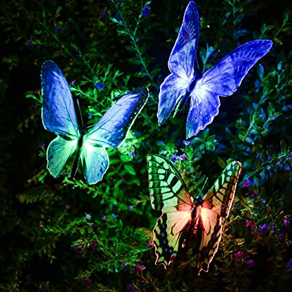 [NEWEST] Butterfly Garden Solar Lights Outdoor, 3 Pack Qualife LED Color  Changing Stake
