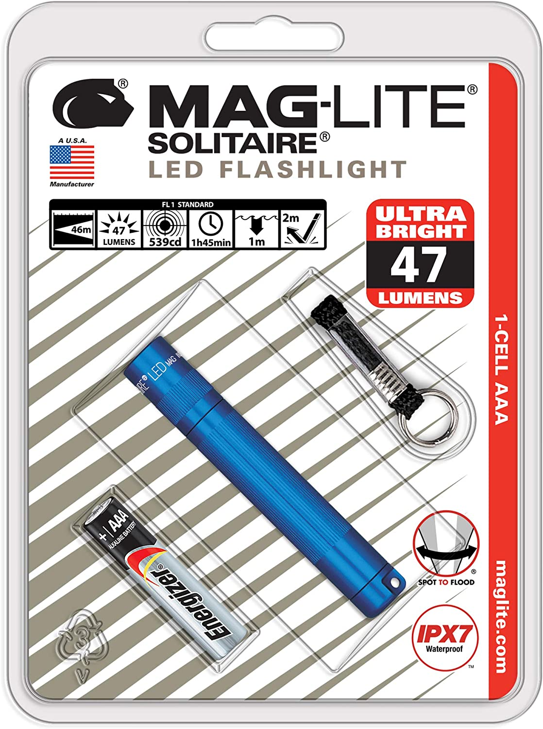 NEW MAGLITE BLUE SOLITAIRE FLASHLIGHT MADE IN USA