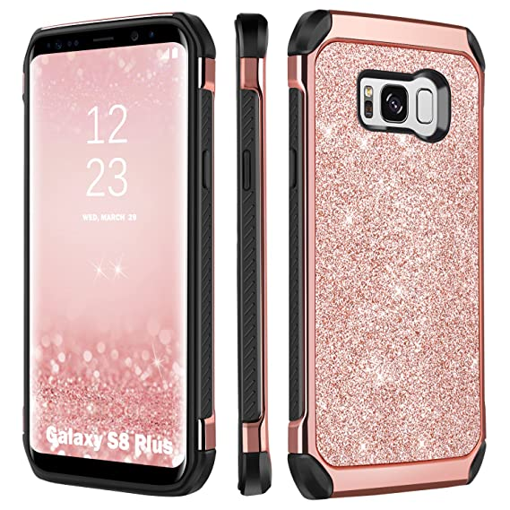 huge discount 69724 4a7c2 BENTOBEN Galaxy S8 Plus Case, Luxury Glitter Sparkly Bling Hybrid Dual  Layer Laminated with Faux Leather Chrome Shockproof Protective Samsung  Galaxy ...