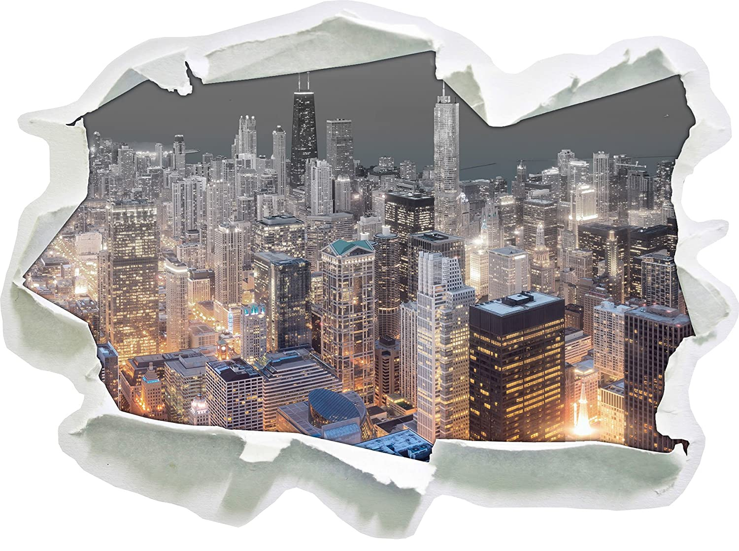 Aerial view of Chicago at night B & W detail Paper in 3D look, wall or door sticker size: 62x45cm, wall stickers, wall sticker, wall decoration Stil.Zeit