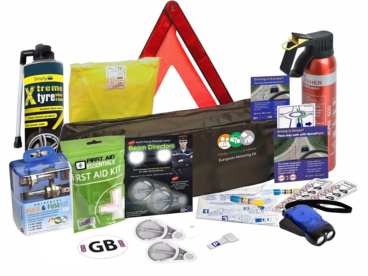 New Euro European Travel Kit For Driving In France Fresnel Lens With French Breathalysers 1-9 (European Driving Kit 1) Family Motoring & Leisure