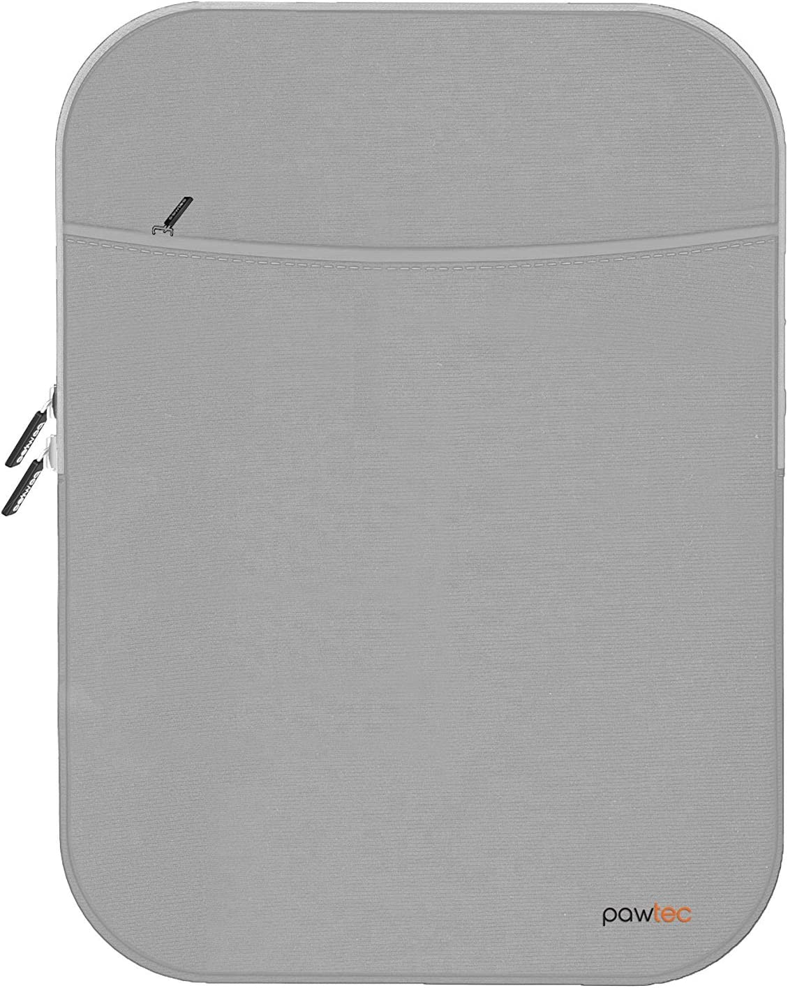 Pawtec Shockproof Neoprene Protective Storage Carrying Sleeve Case - Compatible with Apple 12.9 Inch iPad Pro Retina Tablet - with Extra Storage Pocket for Accessories and Wall Charger (Silver)