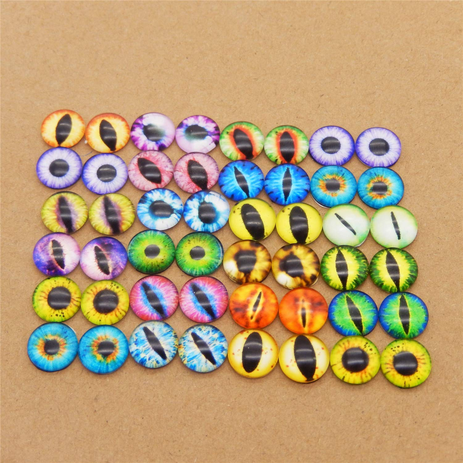 JulieWang 200PCS Vintage Mixed Style Cat Ghost Alien Evil Eyes Glass Cameo Jewelry Making Cabochons 6MM