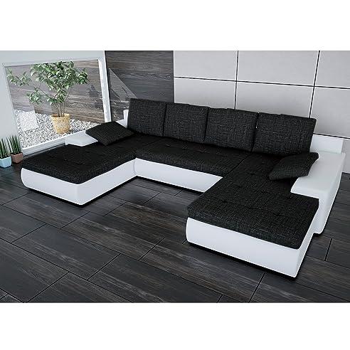 Sofa Polsterecke Linosa Weiß/ Strukturstoff Schwarz - Ecksofa Von