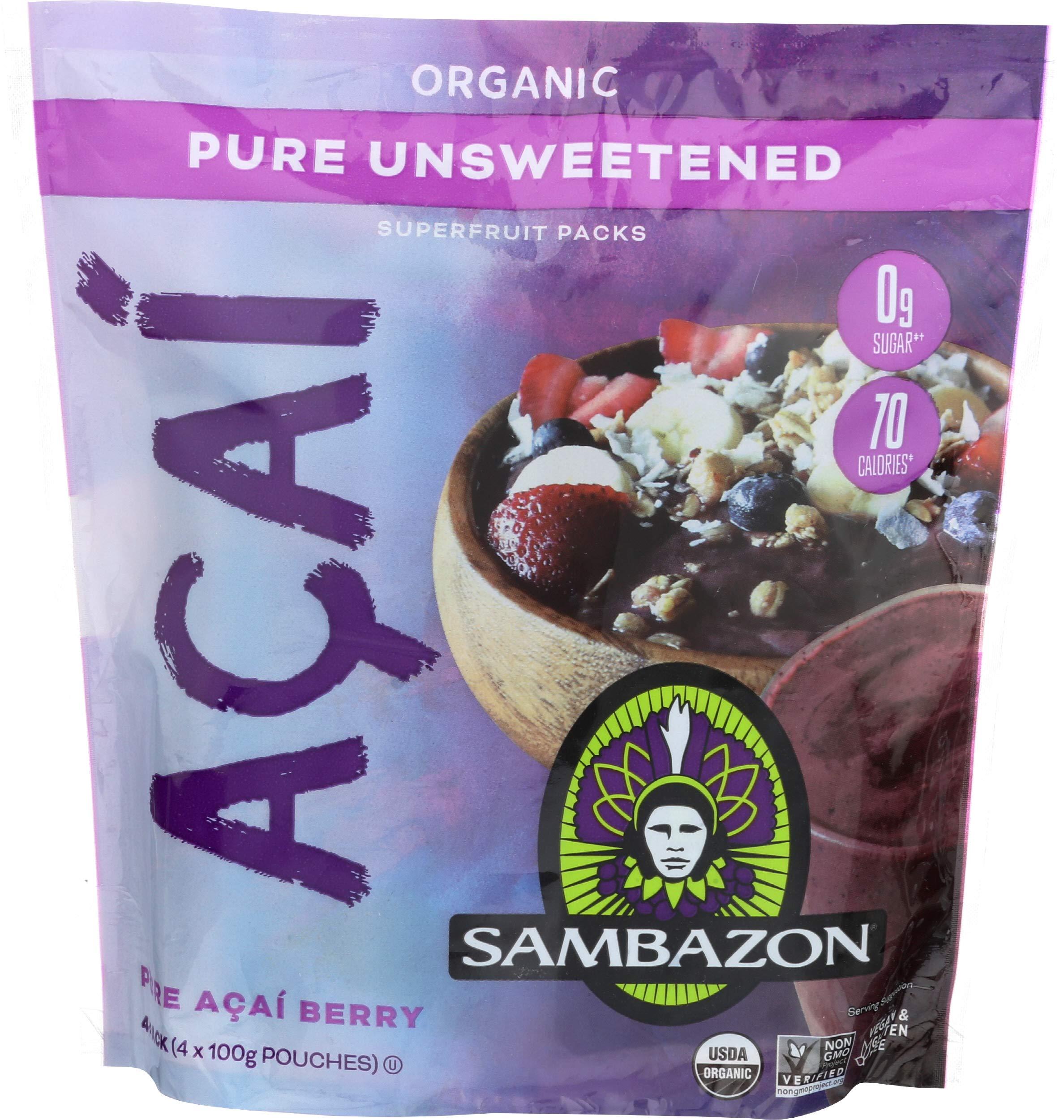 Sambazon, Organic Pure Acai Berry Smoothie Packs, 14.1 Ounce
