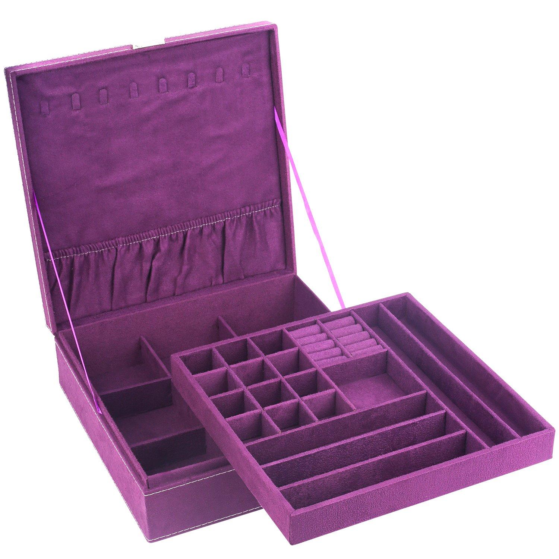 Mantello Two-Layer Lint Jewelry Organizer Box Storage Case with Lock, Purple
