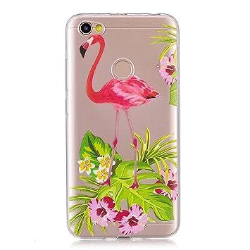 Funda para Xiaomi Redmi Y1 / Redmi Note 5A Prime , IJIA Transparente Flamencos Flor E Hierba TPU Silicona Suave Cover Tapa Caso Parachoques Carcasa ...