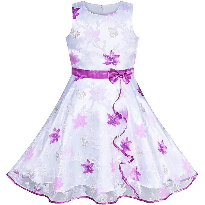 486d158b278f Sunny Fashion Vestito Bambina Foglia di Acero Viola Nozze Festa Compleanno  4-5 Anni