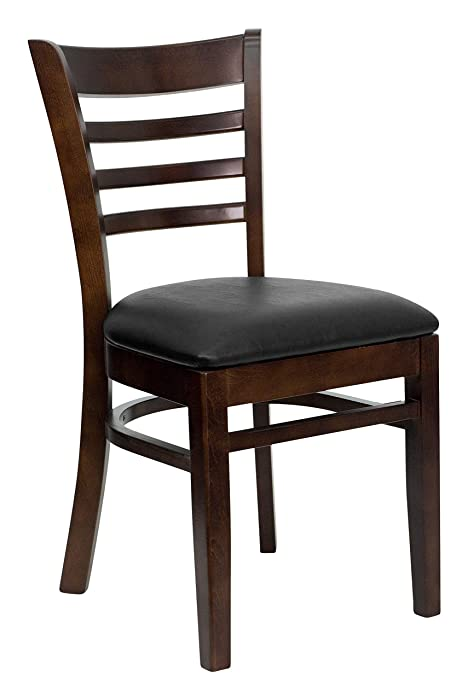 Flash Furniture HERCULES Series Ladder Back Walnut Wood Restaurant Chair - Black Vinyl Seat
