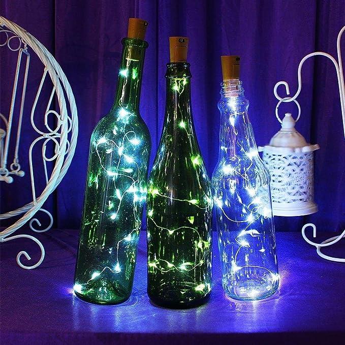 KOBWA LED luz de Botella, luz de Bricolaje Cobre Alambre Cadena Estrellado USB con Recargable para Boda, Halloween, Navidad, Partido Decoración 59In 15 ...