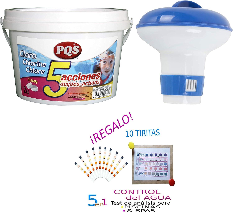 Pack Cloro Pastillas 200G 5ACCIONES 2KG + CLORADOR Flotante ...