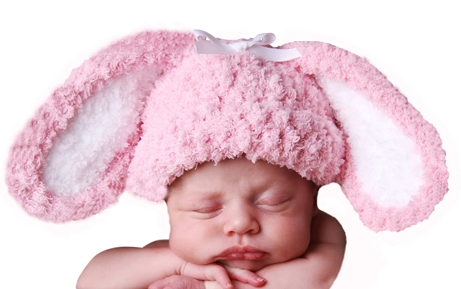9db11f67a1a2b Amazon.com  Melondipity Adorable Pink Floppy Ear Bunny Hat for Newborn    Baby Girls Handmade in the USA (0-6 months)  Infant And Toddler Hats   Clothing
