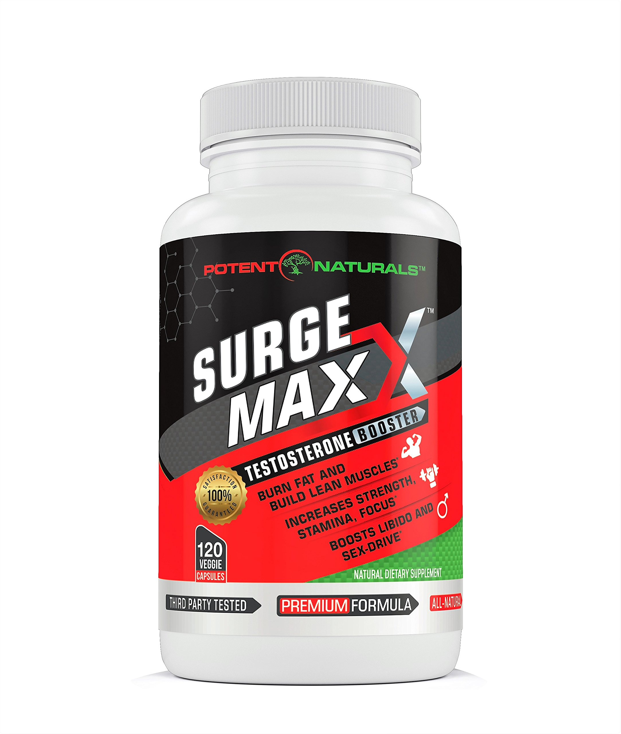 SURGE MAXX Testosterone Booster: Best Natural Testosterone Supplement 1600mg D-AA-CC/120 Veggie Capsules, 13 Potent Ingredients/Test Enhancer For Men To Boost Muscle Strength, Libido, Energy, Vitality