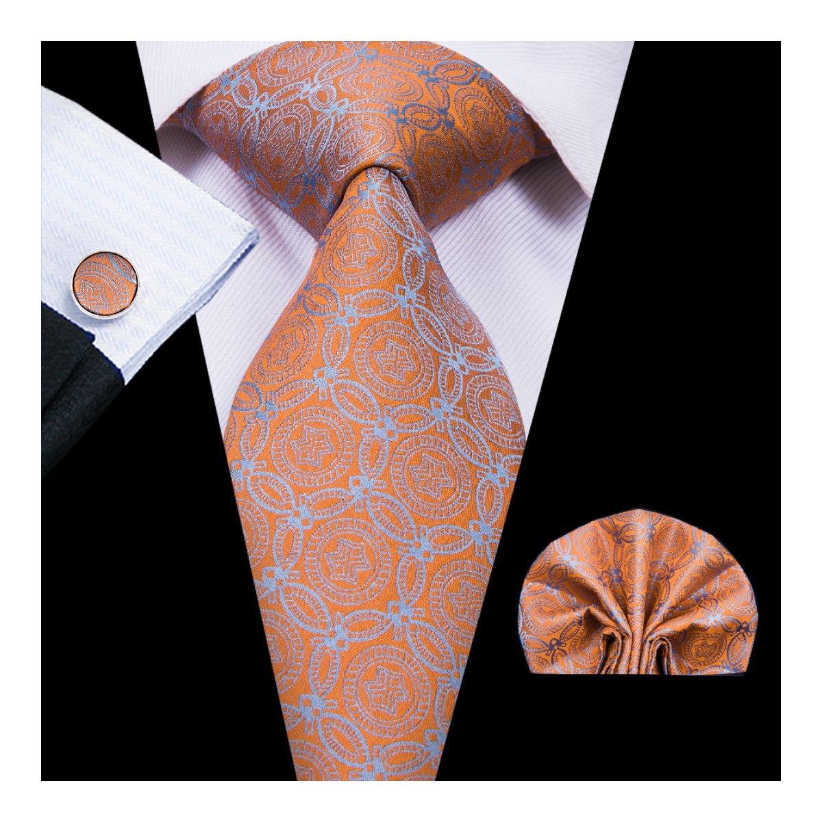 Hi-Tie Orange Fashion Wedding Tie Silk Mens Tie with Pocket Square Cufflinks Set Necktie