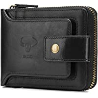 BAIGIO Men Genuine Leather Wallet Bifold RFID Money Clip Vintage Card Holder Coin Pocket Black