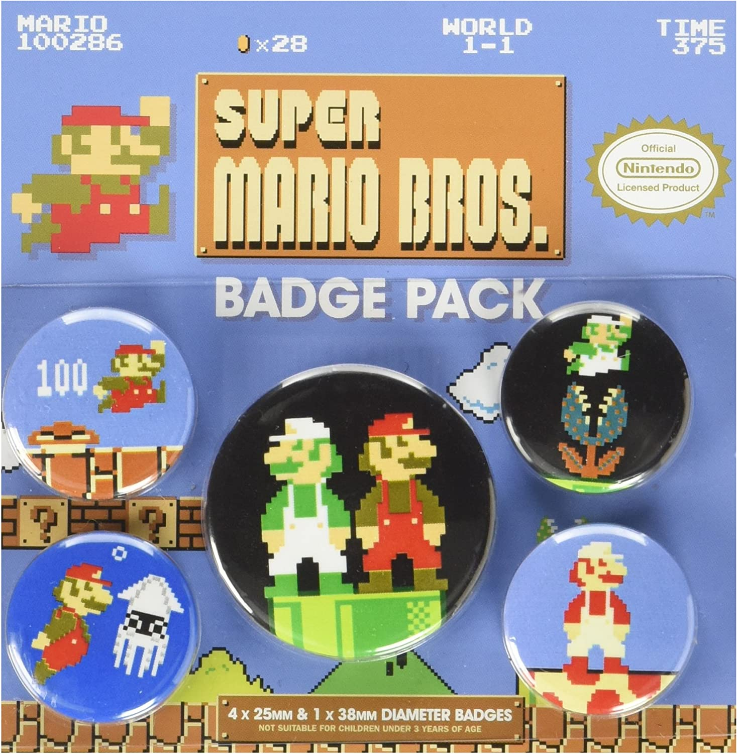 Pyramid International Super Mario Bros. Insignia retro, multicolor, 10 x 12,5 x 1,3 cm: Amazon.es: Hogar