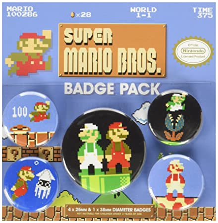 Pyramid International Super Mario Bros  Retro Badge, Multi-Colour