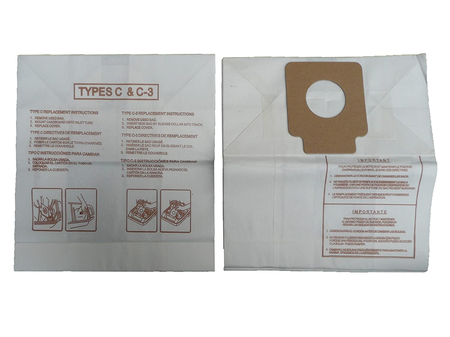EnviroCare Replacement Vacuum Bags for Panasonic Type C C-3 C3 Canisters 6 Bags
