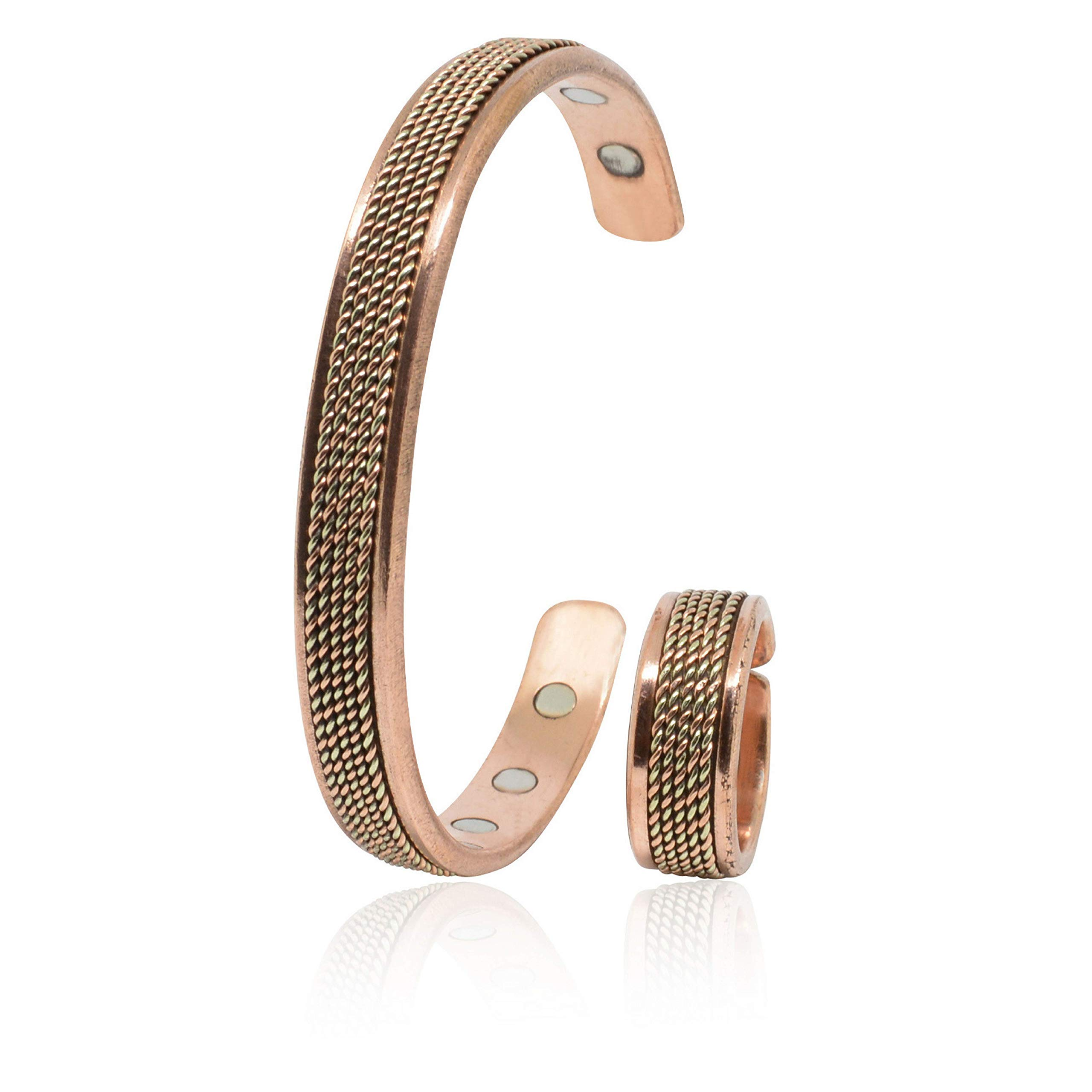Handmade Copper Bracelet and a Ring for Men and Women-Arthritis Therapy Magnetic Bracelets with 6 Powerful Magnets-Effective & Natural Relief for Joint Pain and Arthritis(Solid Chain Inlay+Ring)