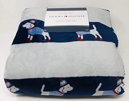 Gray with TH Initials and White Paw Prints Tommy Hilfiger Micromink Plush Throw Blanket Sherpa Fleece Lined