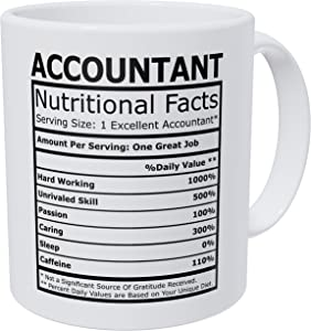 Wampumtuk Accountant CPA Nutritional Facts Funny Coffee Mug 11 Ounces Inspirational And Motivational