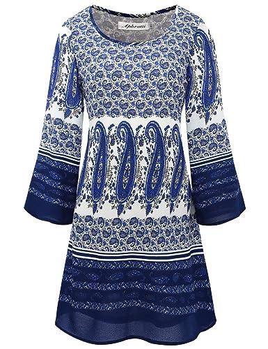 Aphratti Women's Bohemian Loose fit Casual Printed Tunic Chiffon Dress