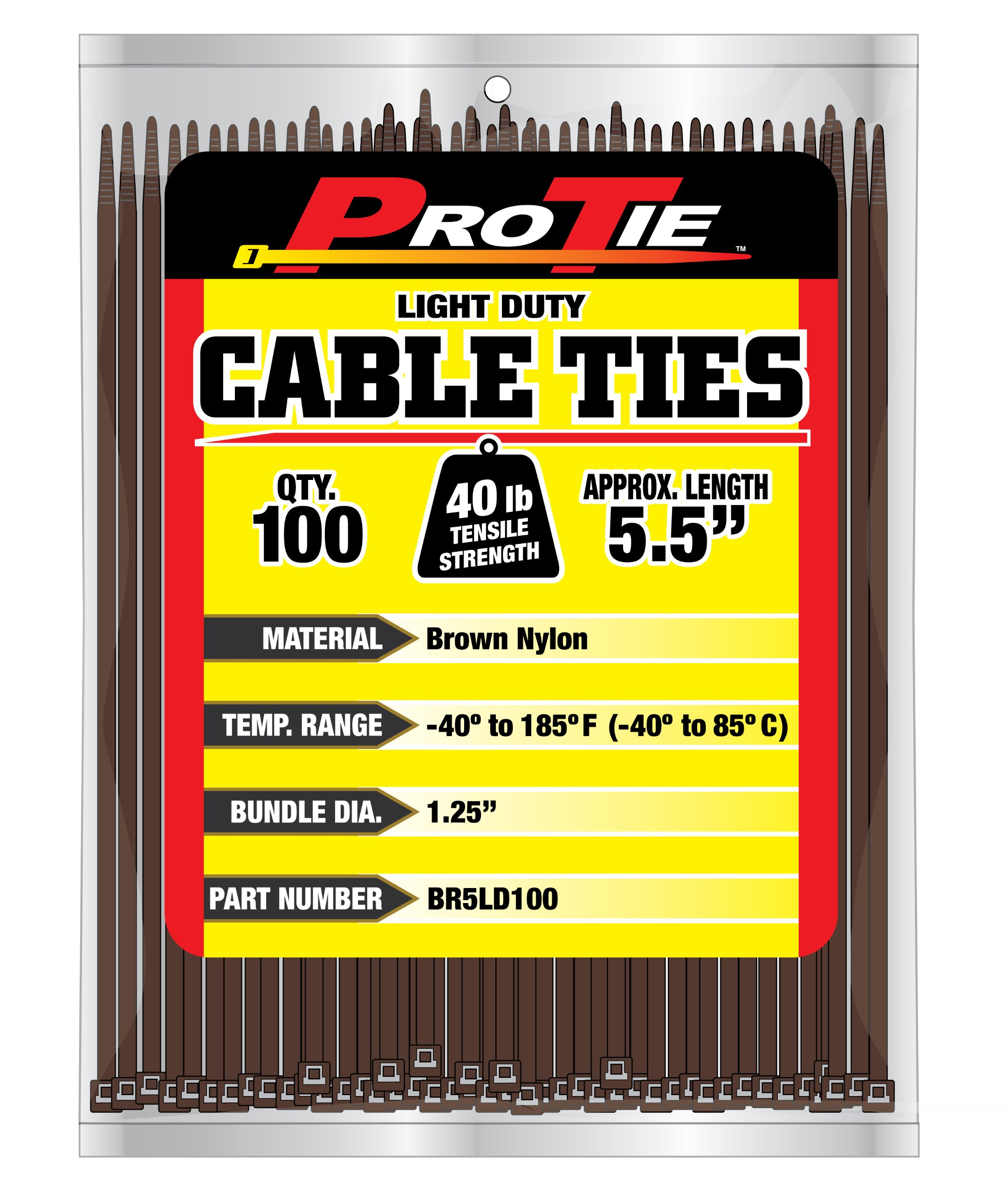 Pro Tie BR5LD100 5.5-Inch Brown Light Duty Color Cable Tie, Brown Nylon, 100-Pack by Pro Tie