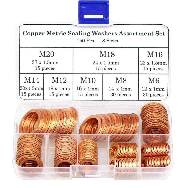 150Pcs 8 Sizes Copper Metric Sealing Washers Assortment Set
