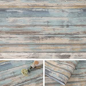 Blue Rustic Wood Paper 17''×120'' Self-Adhesive Removable Wood Peel and Stick Wallpaper Vinyl Decorative Wood Plank Film Vintage Wall Covering for Furniture Surfaces Easy to Clean Wooden Grain Paper