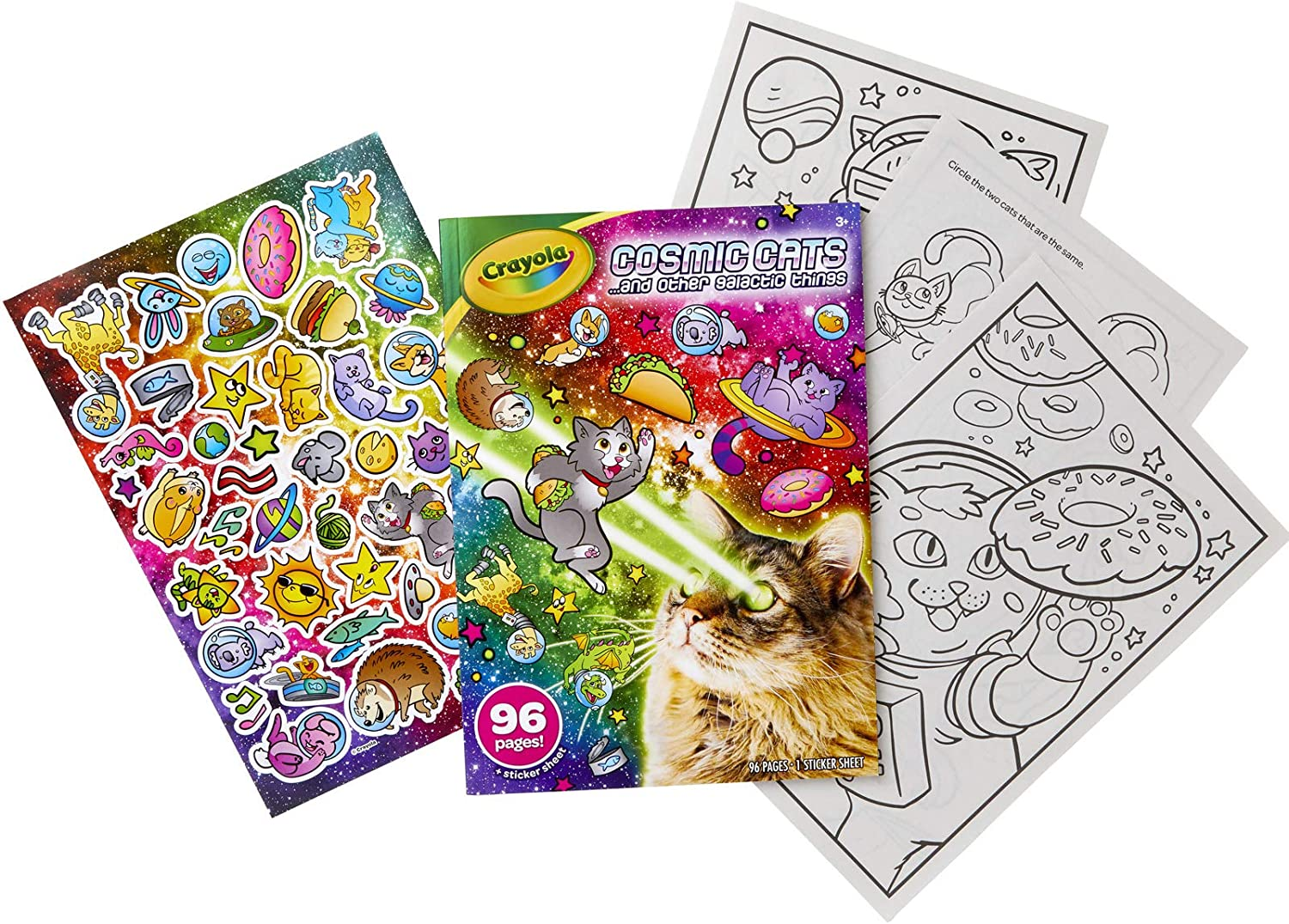 Crayola Cosmic Cats Coloring Book Multi Gift for Kids Sticker Sheet 96 Pgs