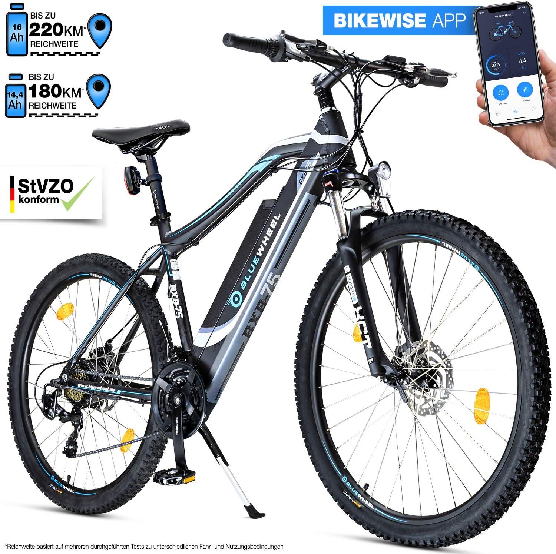 Bluewheel innovadora e-Bike de 27,5/29 Pulgadas y 14,4/16Ah – Marca de Calidad Alemana – Pedelec Conforme a Las Normas de EU - App - Motor de 250W - Bicicleta Eléctrica batería Iones