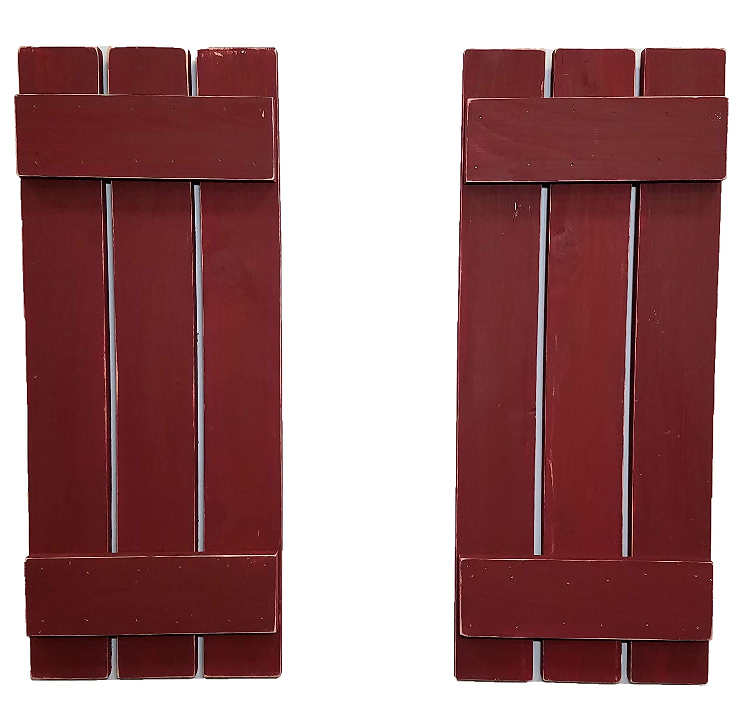 Countryside Rustic Pair of Decorative Board and Batten Shutters by Renewed Decor