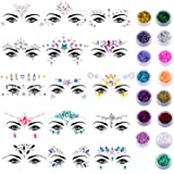 Duufin 15 Sets Face Jewels Stickers Face Gems Glitter Mermaid Face Crystal with 15 Boxes Chunky Face Glitter Temporary Tattoos for Festival Rave Carnival Party