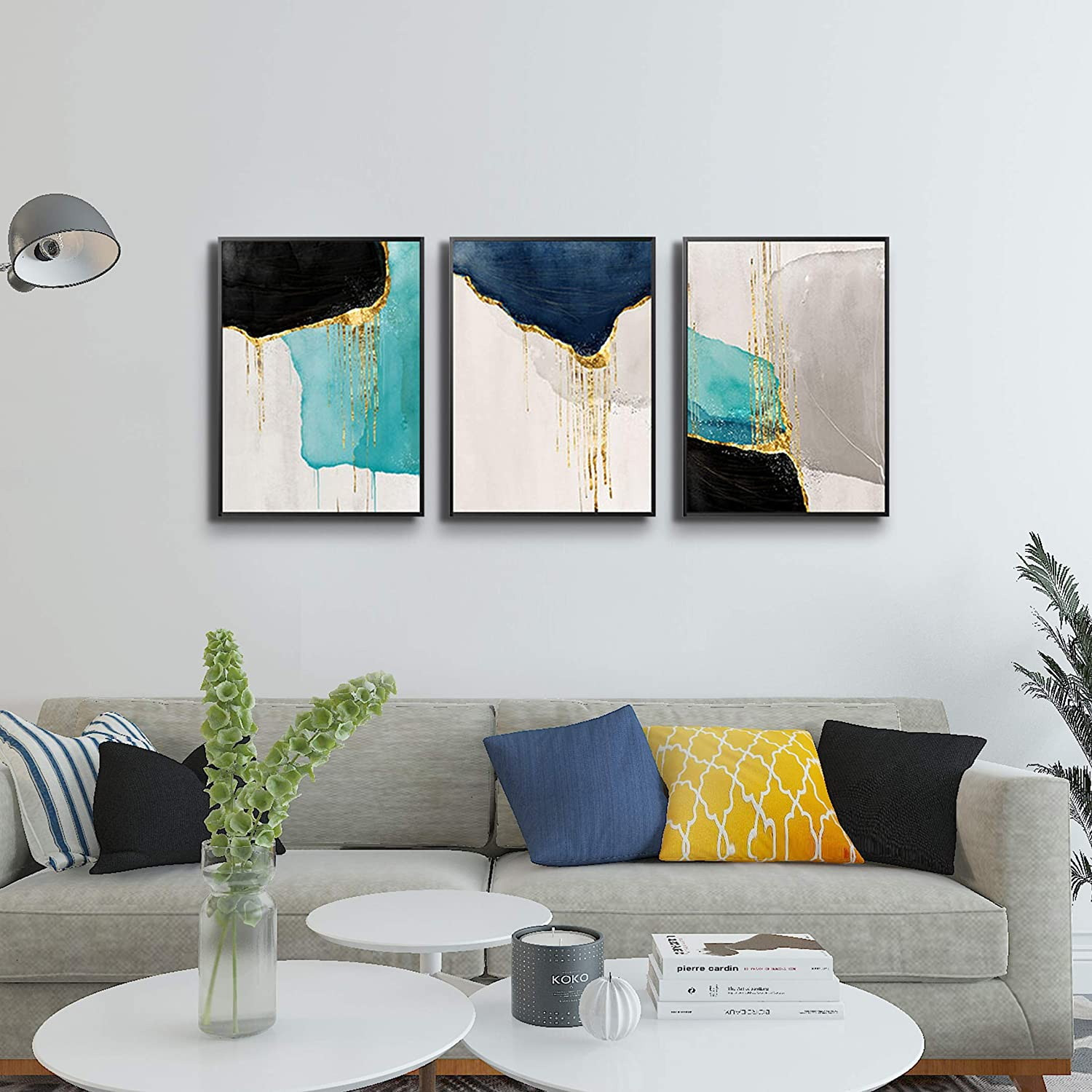 Artland Canvas Wall Art For Living Room Modern Navy Blue Abstract Mountains Oil Painting Landscape Artworks For Bedroom Bathroom Kitchen Wall Decor Framed Ready To Hang 20x40 Inches Paintings Home Kitchen