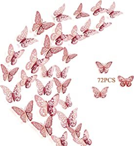 Crosize 72Pcs 3D Rose Gold Butterfly Wall Décor 3 Sizes Butterfly Decorations Butterfly Party Cake Decorations 3D Butterfly Stickers Decals for Girls Kids Baby Bedroom Bathroom Living Room Birthday