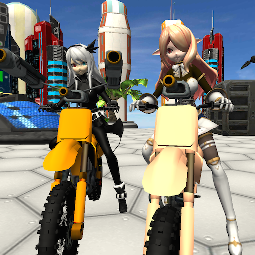 Motorbike Girls Jumping Mission 3D - Motorcycle shooting and stunt game