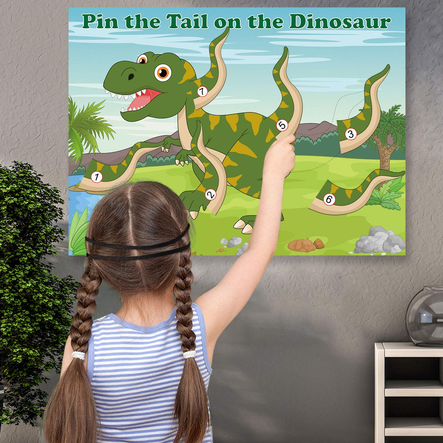 FEPITO Pin The Tail beim Dinosaurier Spiel mit 24 St/ück Schw/änzen f/ür Dinosaurier Geburtstag Partyzubeh/ör Jungen-Dinosaurier Party Spiel