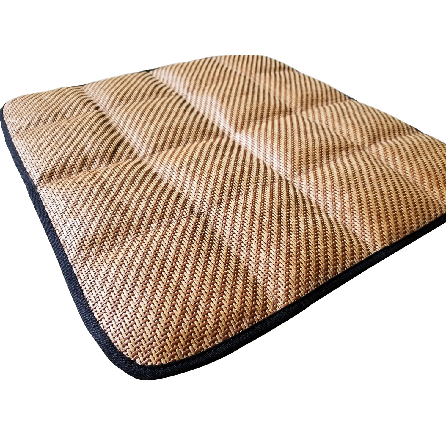 DGQ Summer Cool Bamboo Charcoal Breathable Brown Knitted Straw Seat Cushion Straw Cover Chair Pad Mat Deodorizer - Home Office Car Chair Cushion Pad