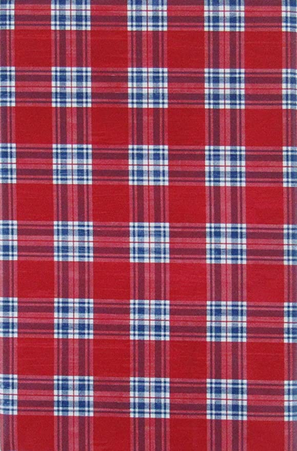 Red White and Blue Tartan Plaid Vinyl Flannel Back Tablecloth-Various Sizes