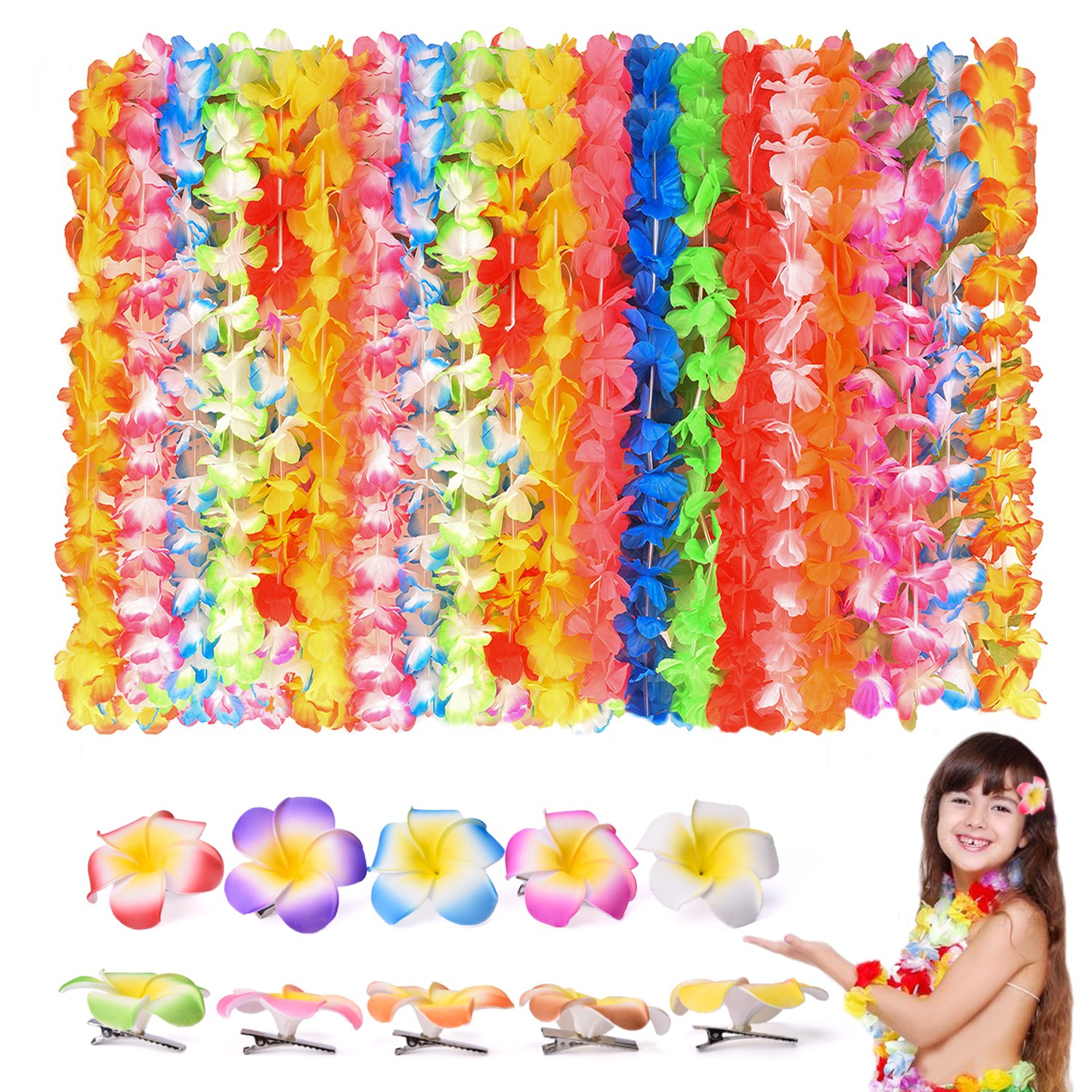 FUN LITTLE TOYS 40 PCs Tropical Hawaiian Leis Ruffled Flowers Necklaces And 10 Pieces Hawaiian Luau Flower Lei Hair Clip for Party Supplies, Beach Party Decorations, Birthday Party Favors by FUN LITTLE TOYS
