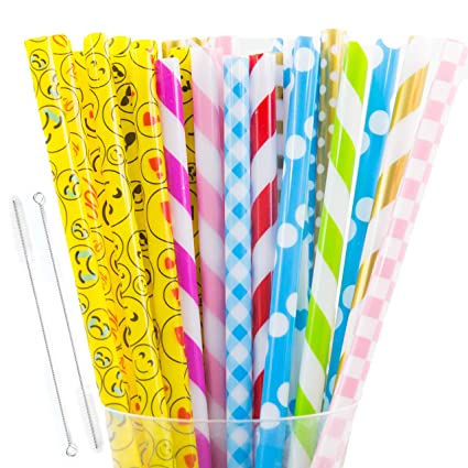 30+2 Pcs Reusable Straws, BPA Free, FDA approved Plastic Reusable Straws,  Thick Straws, Fit for Mason Jar, 20oz and 30oz Yeti Tumbler, with 2  Cleaning