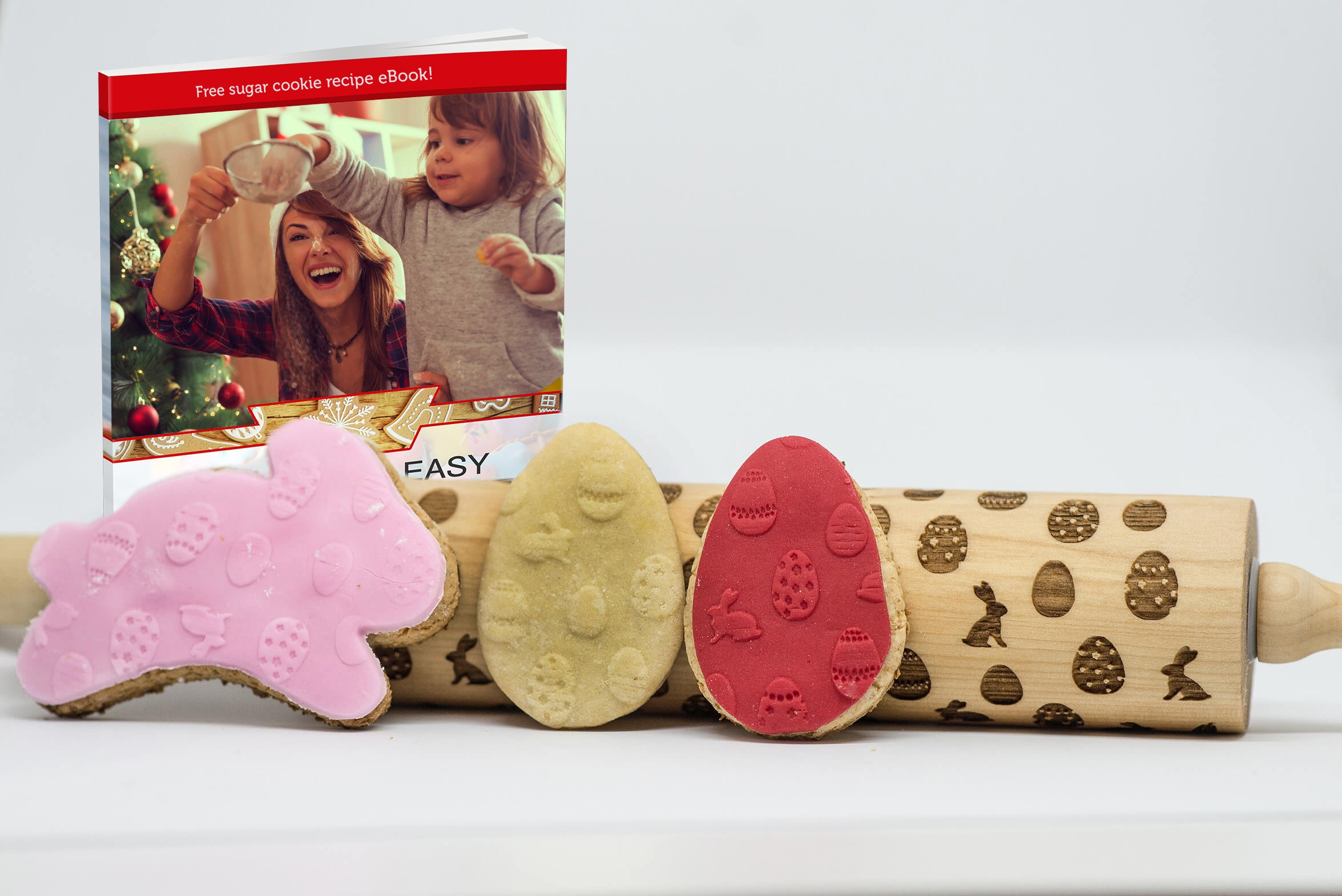 Decorative Bunny and Egg Embossed Rolling Pin for baking, Beautiful Laser Engraved Bamboo wood material makes amazing textured cookies and fondant, Perfect for the Easter, Great gift idea!