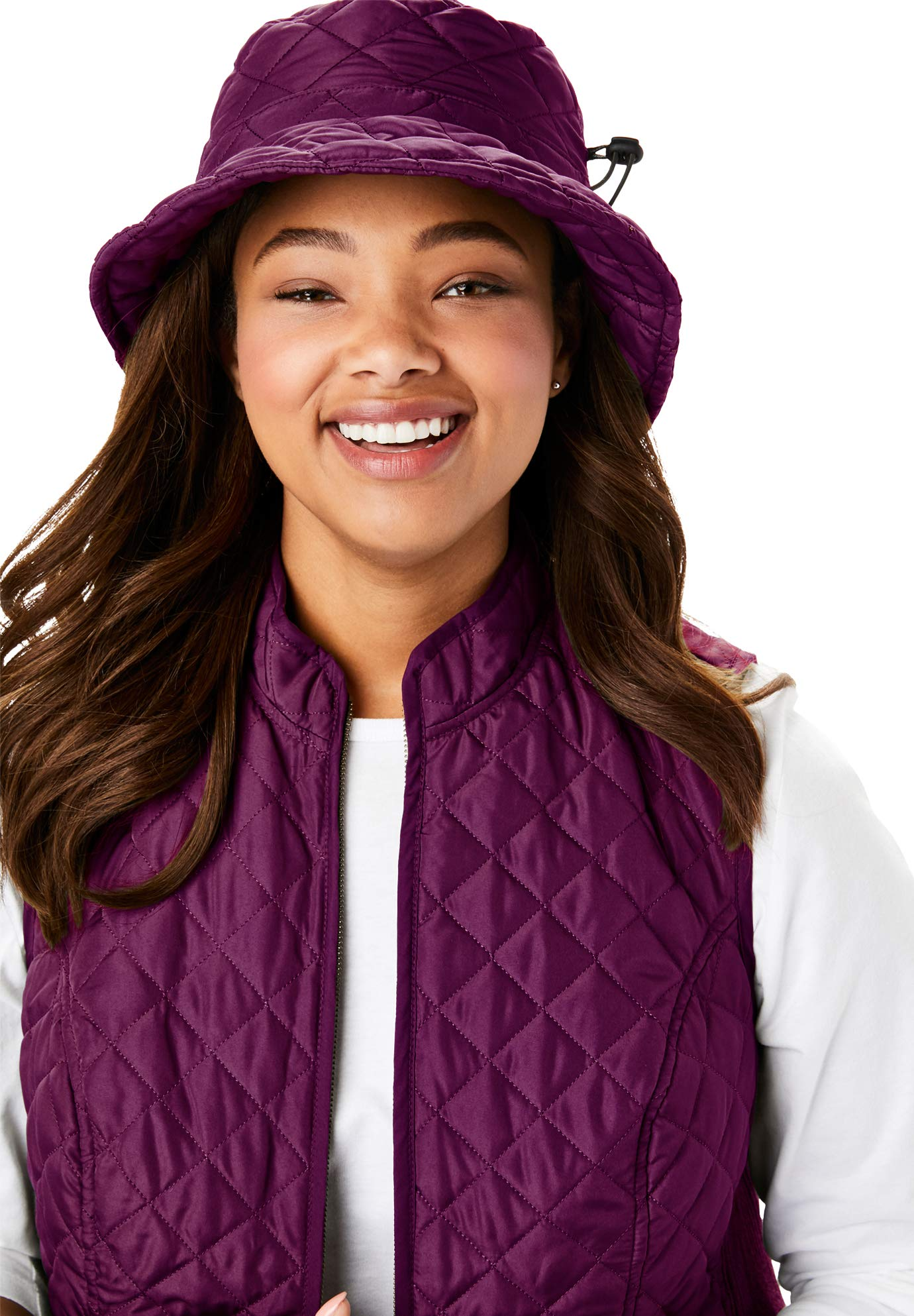 Woman Within Women's Plus Size Quilted Bucket Hat - Dark Berry, One Size by Woman Within