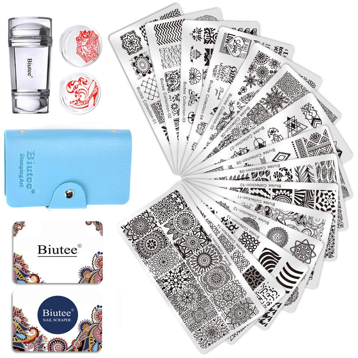 Biutee 19 PCS Nail Art Stamping Plate Kit 15Pcs Template Plates 1 Clear Stamper 2 Scraper 1 Storage Bag Nail Stamps tool Set for Organizer Theme Image Plate for Leaves Flowers Animal Holiday