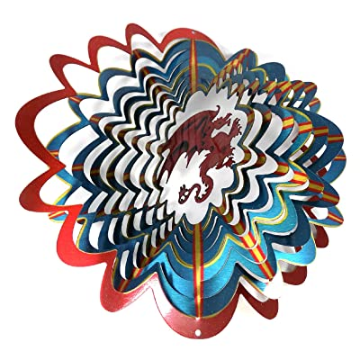 WorldaWhirl Whirligig 3D Wind Spinner Hand Painted Stainless Steel Twister Mystical Dragon (6.5 Inch, Multi Color) : Garden & Outdoor