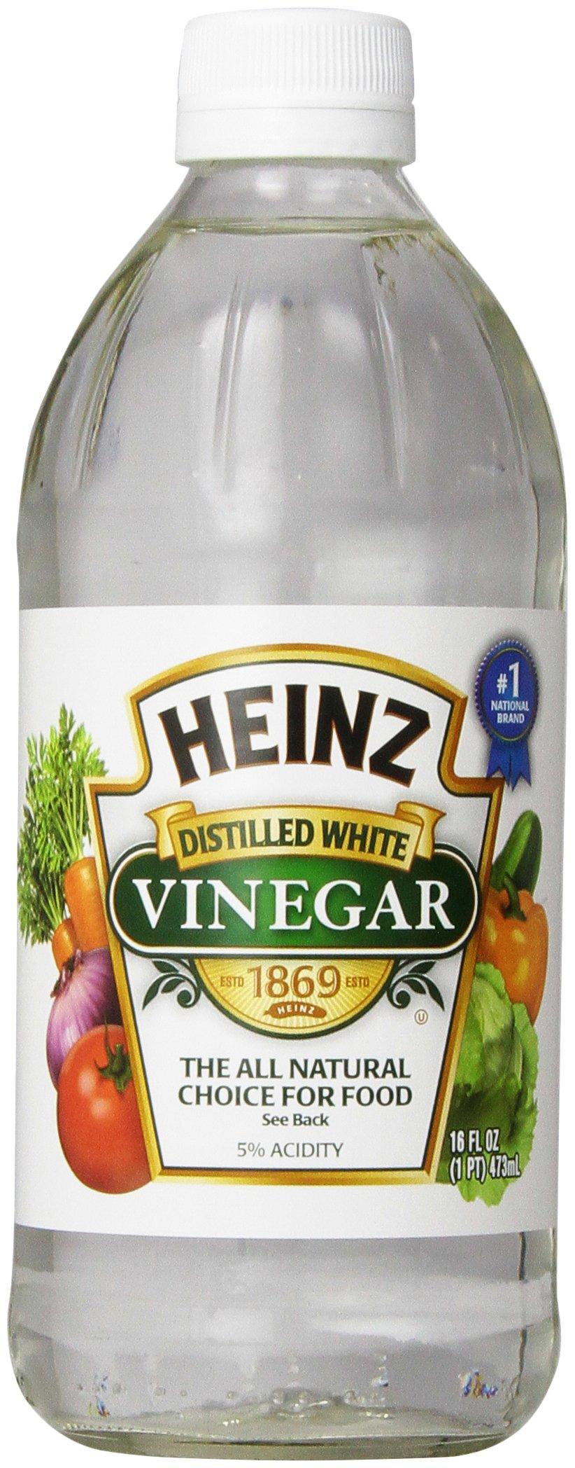 Heinz Distilled White Vinegar, 16 fl oz 1 Premium distilled white vinegar for all your recipe needs Sourced from sun-ripened corn All-Natural Ingredients